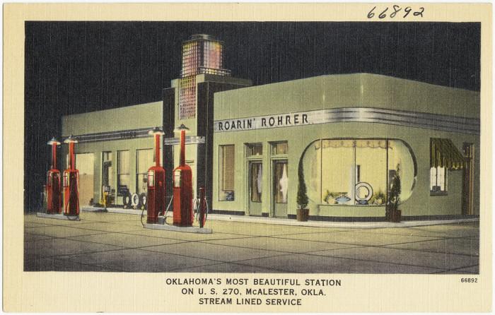 "2. ""Roarin' Rohrer, Oklahoma's most beautiful station on U.S. 270, McAlester, Okla., stream lined service."""