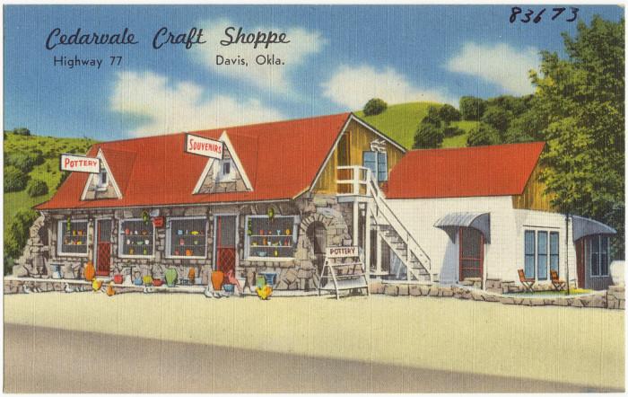 """7. """"Cedarvale Craft Shoppe, Highway 77, Davis, Okla."""""""