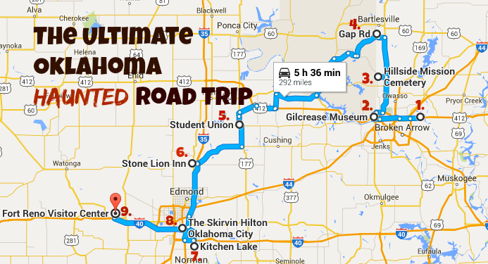 The Best Haunted Road Trip In Oklahoma - Oklahoma road map