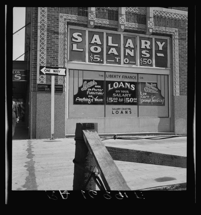 3. Liberty Finance Company offering finance loans from $5-$50. Taken in Oklahoma City in June 1937.