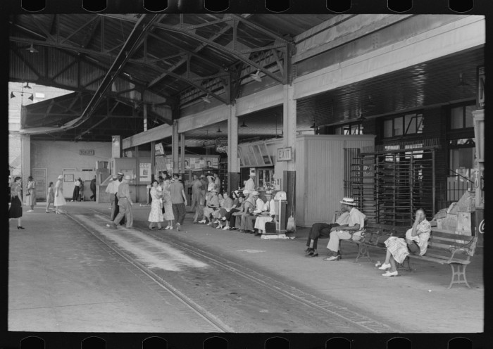 9. A Streetcar terminal with people waiting for cars, Oklahoma City. July 1939.