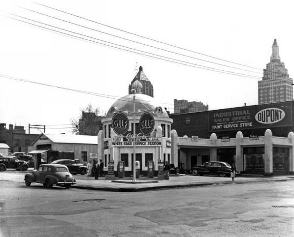 5. The White Star Gulf Oil Station was open 24 hours a day, 7 days a week and the station attendant lived upstairs in the dome itself. Photo courtesy of Tulsa City-County Library and Tulsa Historical Society.
