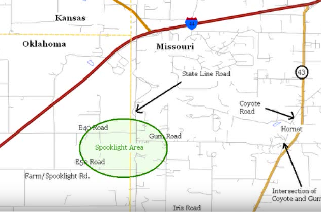 Directions: Exit Interstate 44 onto Hwy 43 South. Head west on Iris Rd until it ends when it intersects with State Line Rd.  Head north on State Line Rd. until you reach E. 50th St (Spooklight Road).