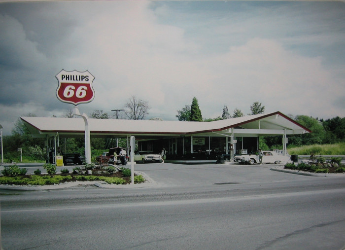7. A late 1960s environmental-era Phillips 66 service station in Bartlesville.