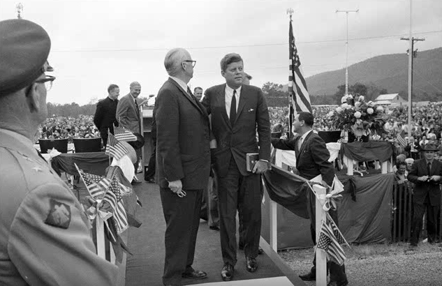 5. On October 29, 1961, President John F. Kennedy visited Big Cedar, Oklahoma. President Kennedy formally dedicated State Highway 103 - a two-lane highway through the Kiamichi Mountains in southeastern Oklahoma.