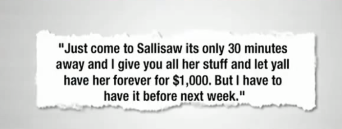 2. In 2013, a mother from Sallisaw tried to sell her 2 children on Facebook...for her boyfriend's bail. Shown below is an excerpt from one of her Facebook messages: