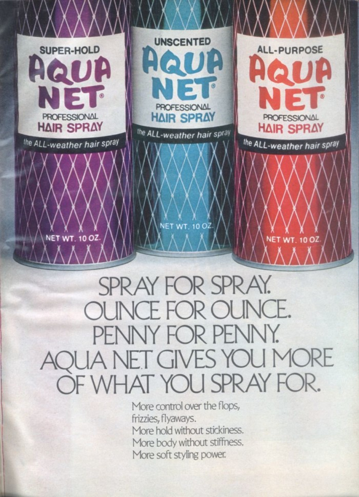 3. Spraying Aqua Net Hairspray for a hold that would last ALL day.