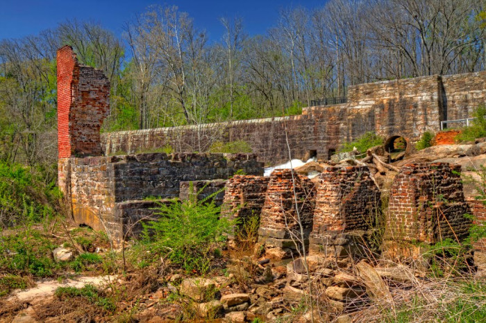 7. The ruins of the old Pelham Mill and the mill's dam near Greer, SC.