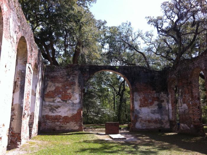 6. Standing inside the Old Sheldon Church ruins near Yemassee, SC.