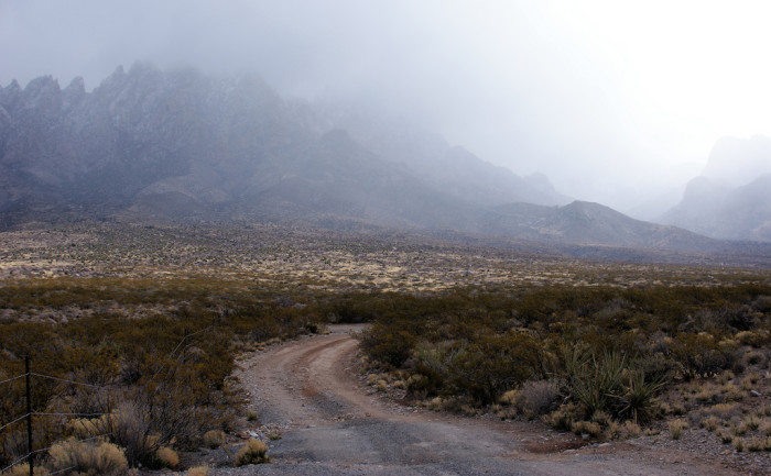 8. The mist shrouding the Organ Mountains makes this road seem like one best left unexplored.