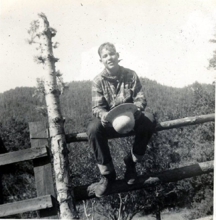 2. A boy scout posing at the Philmont Scout Ranch, in 1954.