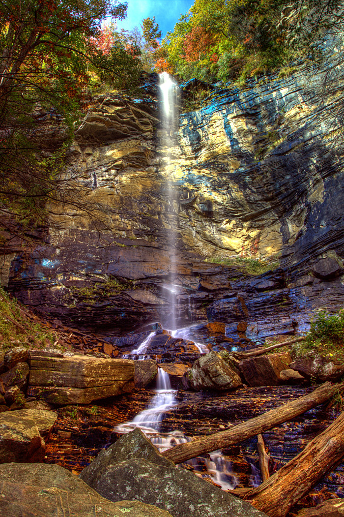 This famous SC waterfall, Rainbow Falls, is located in Jones Gap State Park.