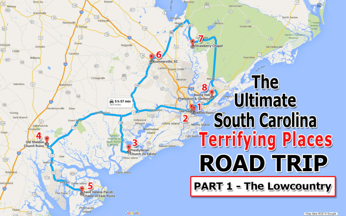Lowcountry South Carolina Map.Haunted Lowcounty South Carolina Road Trip