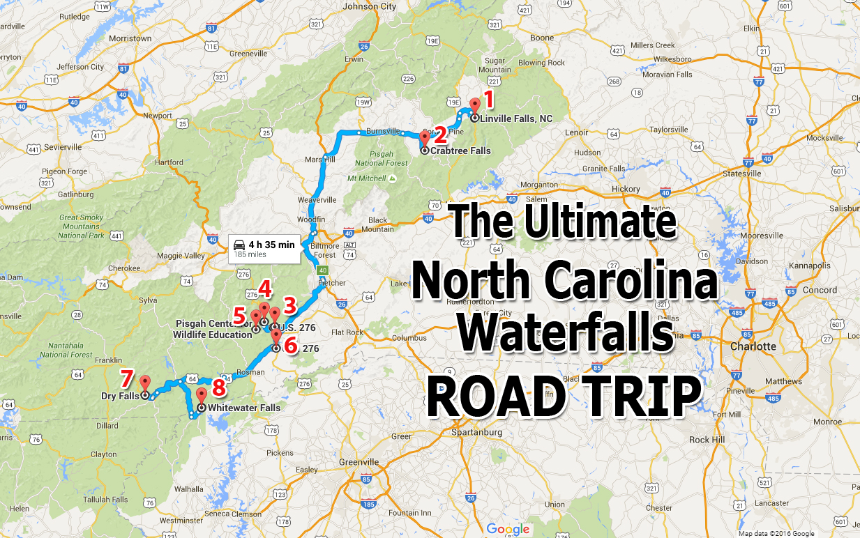 Ultimate North Carolina Waterfall Road Trip Map - North carolina map of cities and towns