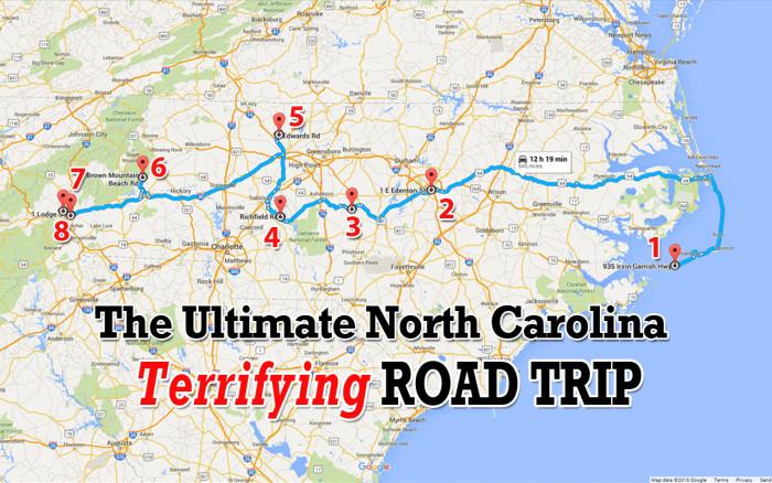 Spooky North Carolina Haunted Road Trip - Road map of north carolina