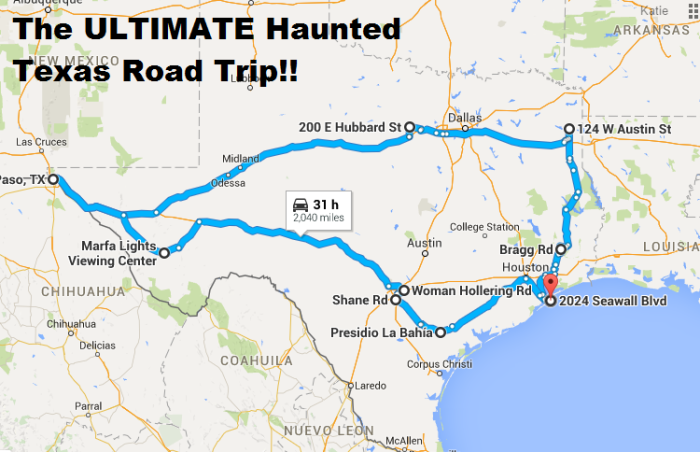 The Ultimate Haunted Texas Road Trip - Map of texas roads