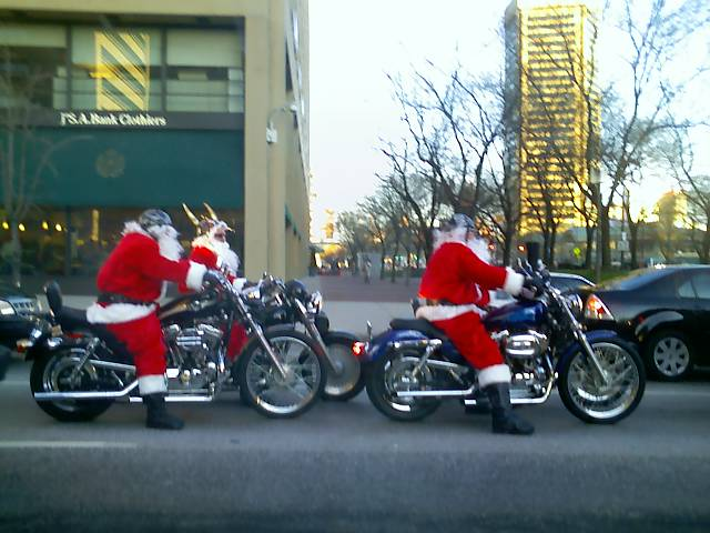 3) These Santa bikers reppin' red suits and viking helmets, were spotted in Baltimore.