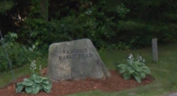 11. Rascally Rabbit Road, Barnstable. I would bet good money that etching the street name into stone was a solution to repeated theft of the sign.
