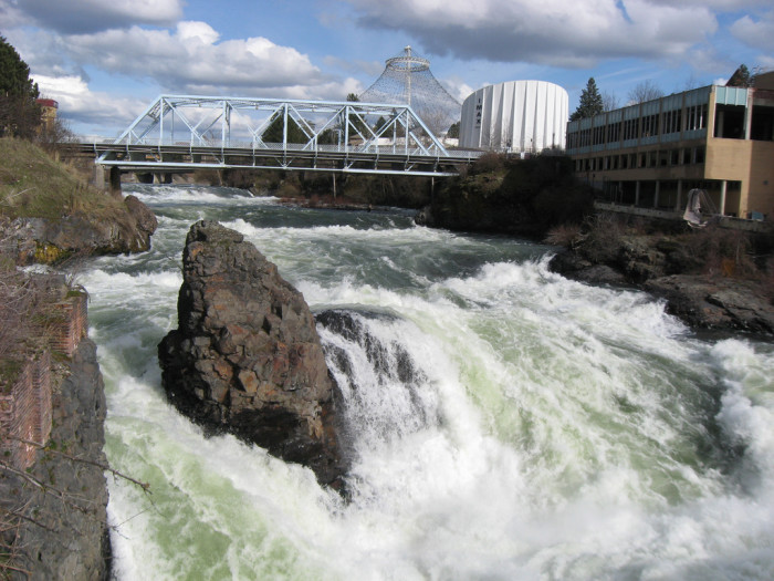 7. This thundering waterfall is located by Riverfront Park.
