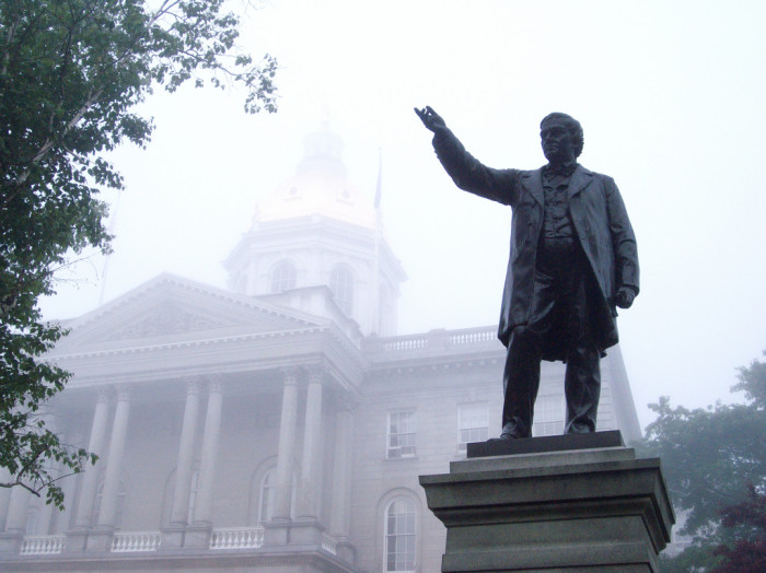 4. A cool fog hanging over New Hampshire's State House.