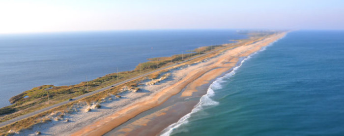 5. The Pamlico Sound on one side and the Atlantic on the other along the Outer Banks Scenic Byway.