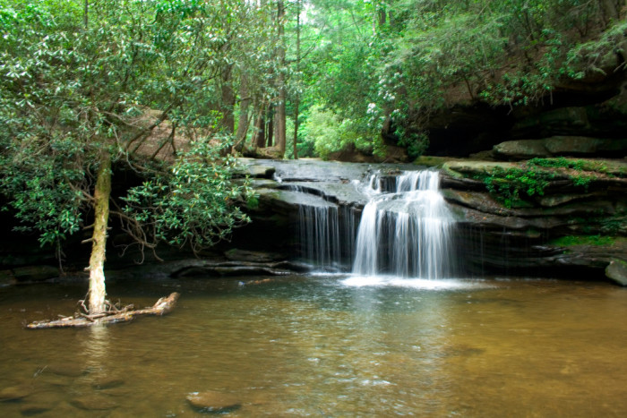 Take a hike and see tons of romantic sights, like this crytal clear pool under this small waterfall along a trail at Table Rock State Park.