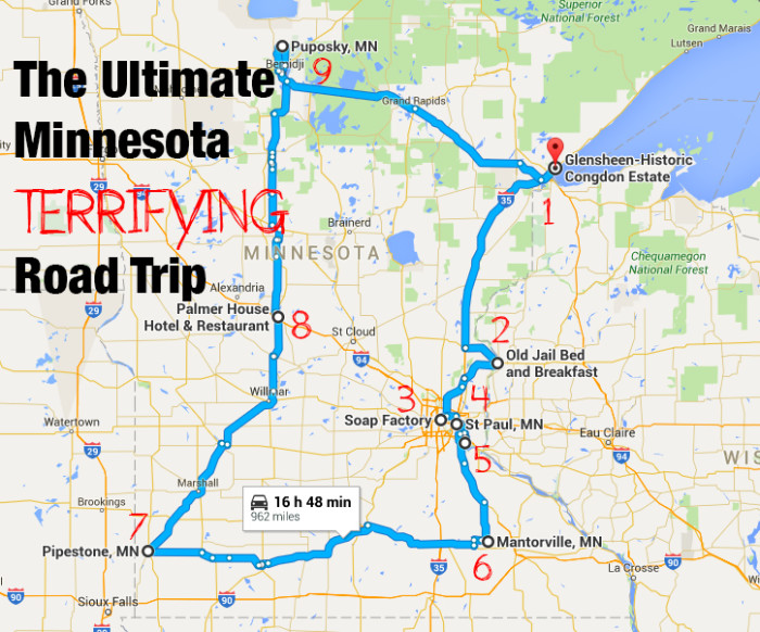 The Ultimate Terrifying Minnesota Road Trip Is Right Here And You - Mn road map