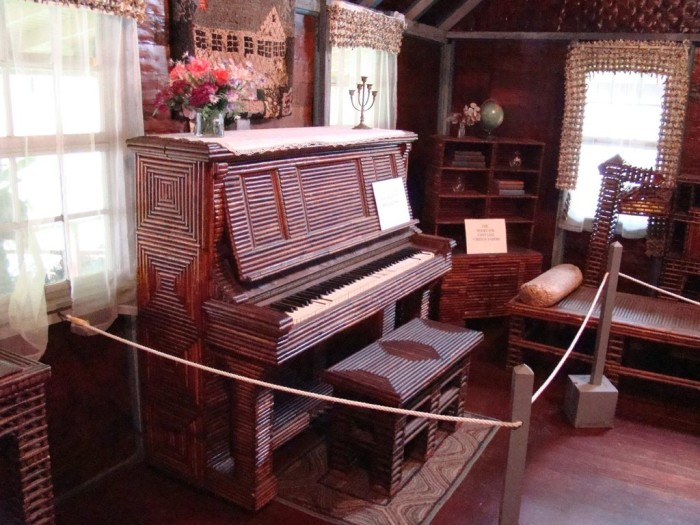 The furniture is also completely made of newspaper. All except the piano and the fireplace. As mechanical engineer, Mr. Stenman could appreciate the prudence of not building a fireplace out of kindling material.