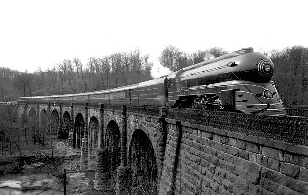 11. The Royal Blue train traveling over the Thomas Viaduct in 1937.