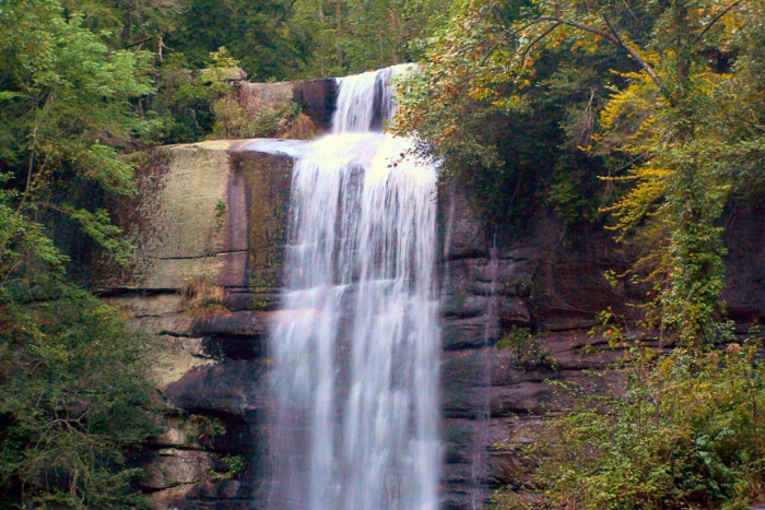 The left waterfall gushes over and down a 75-foot wall of rock, making this a massive and beautiful spectacle.