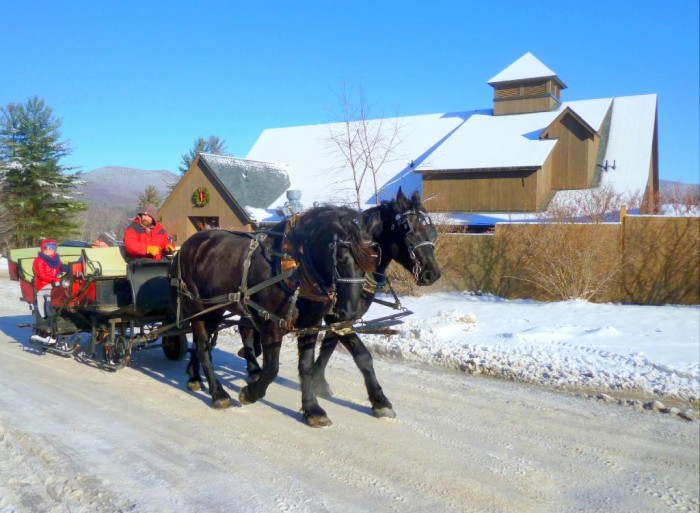 The charm of a horse drawn sleigh is timeless.