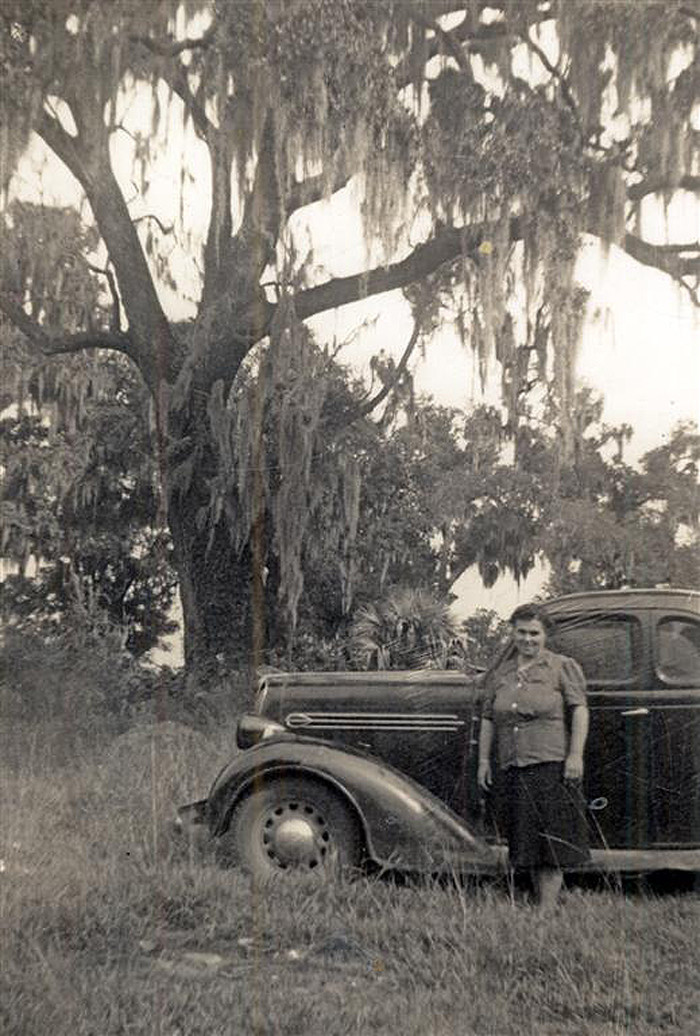14. Stopping for a photo near Beaufort in 1954.