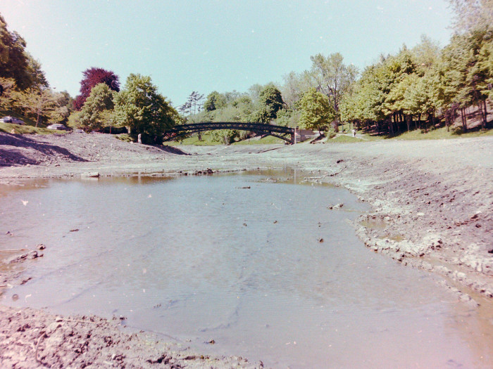 17. The Washington Park Lake in 1977, fully drained for cleaning purposes.