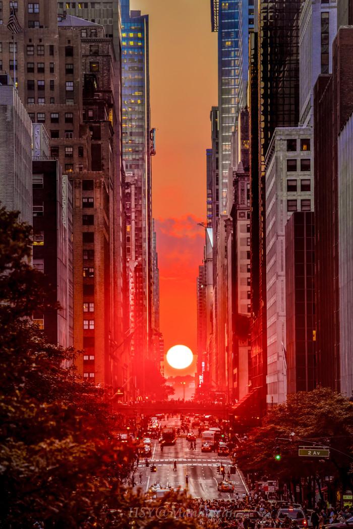 17. Manhattanhenge in New York City.