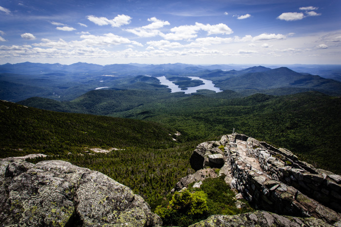 15. When you reach the top of Whiteface Mountain, you'll be able to see the distinguishable H-shape of Lake Placid.