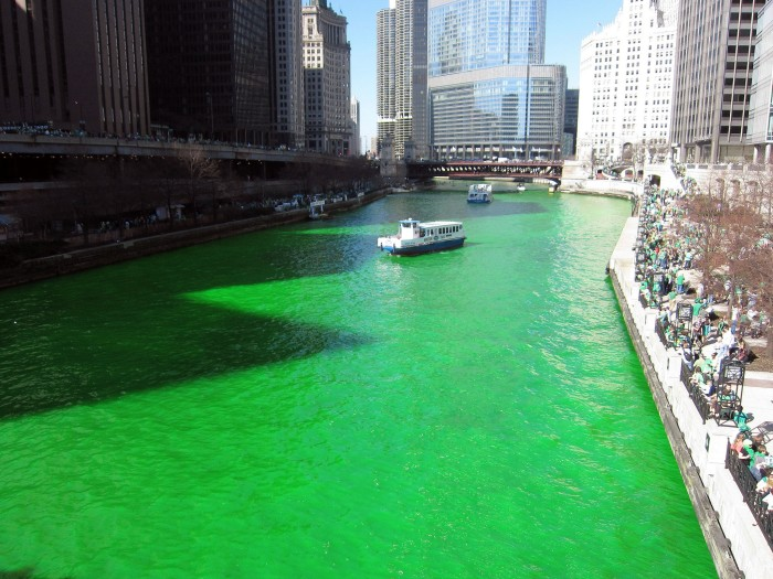 12. It has a river that is both green and flows backwards.