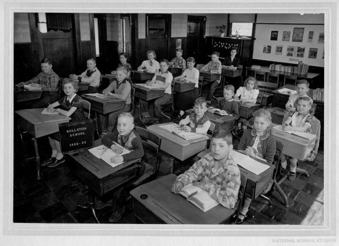2. Children listen attentively at Hollstein School in 1952.
