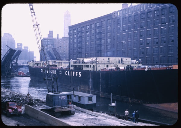 7. This large ship made its way down the Chicago River in 1951.