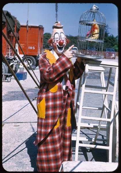 """8. This guy """"clowned around"""" with his bird in 1951."""