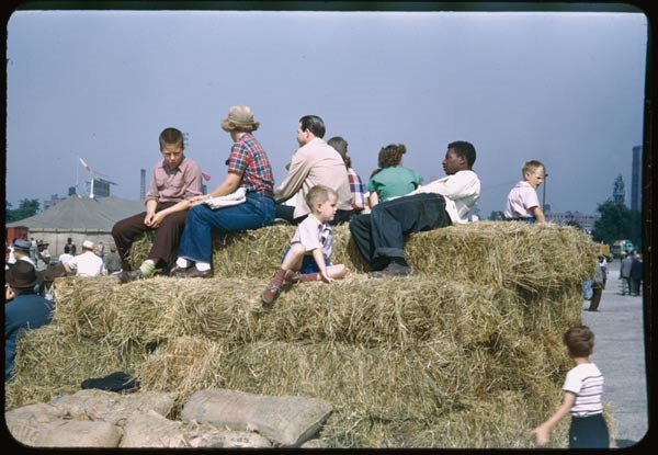 9. Kids wait for the circus in 1951.