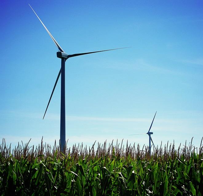 13. Wind farms are a common sight in Dwight.
