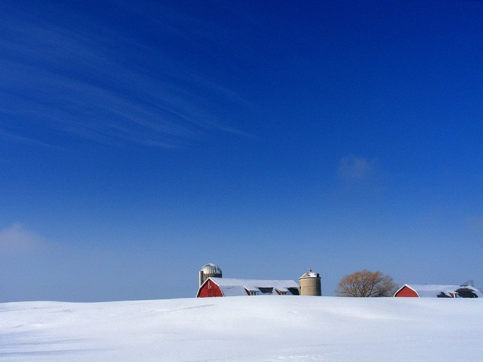 1. Those beautiful rural views are enhanced by the snow, like this one in Egg Harbor.