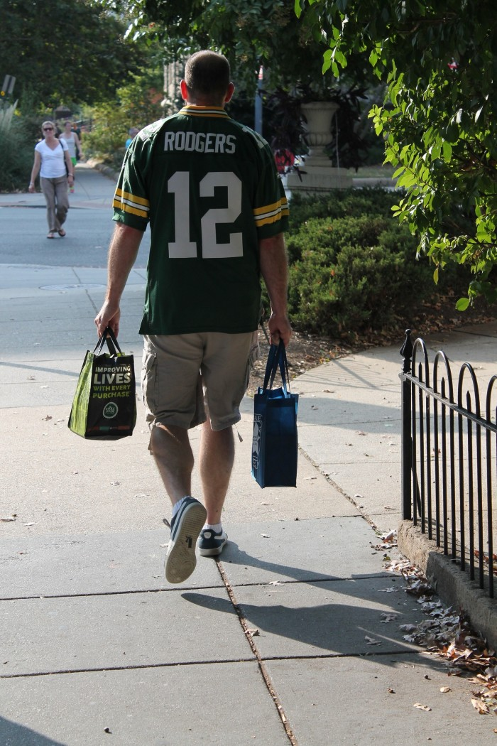 5. Wearing a Packers jersey