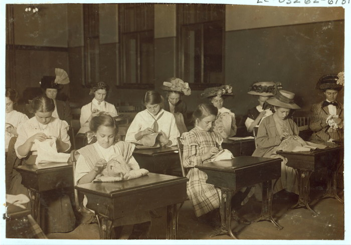 7. Learning to embroider in a free evening school in Boston. (1909)