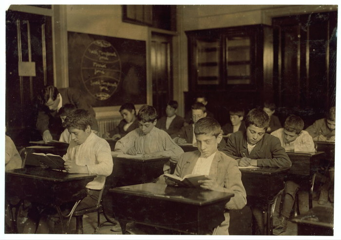3. Immigrant children attending night school in Boston. Many of these children would not have had the luxury of attending class during working hours.(1909)