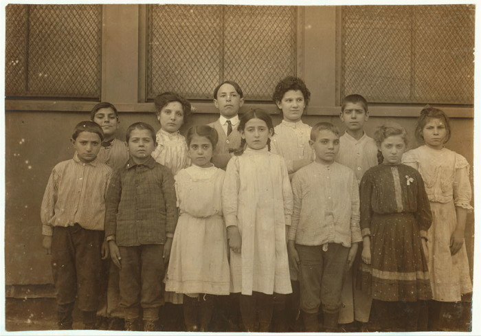 2. Immigrant children attending Washington School in Boston. (1909)