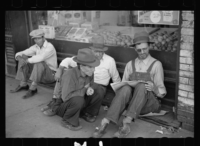 1.	A typical group of farmers in Prairie City, Mississippi County, March 1936.