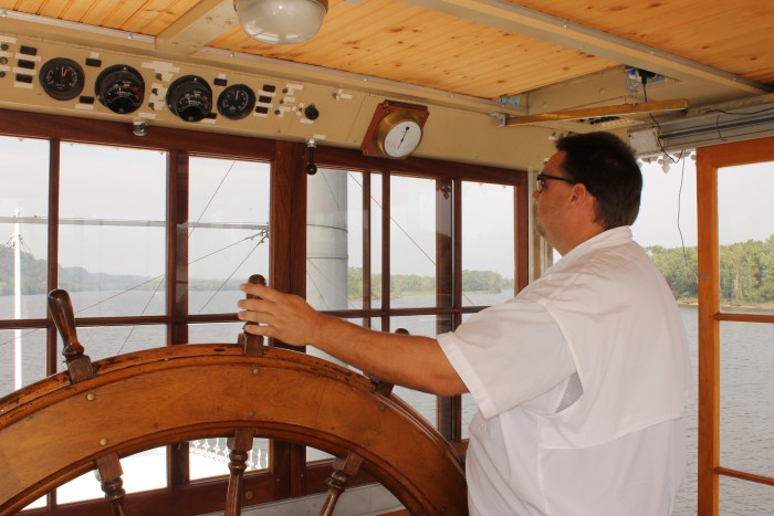 Guests can even go up to the captain's quarters and see what it's like to drive a riverboat.