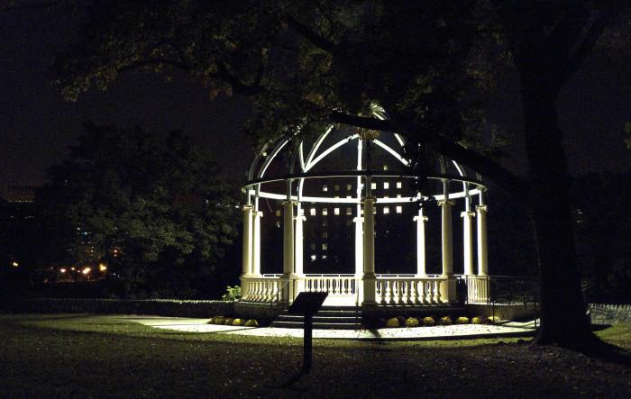 15. Bright lights surround the Sugar Bowl Pavilion in Brandywine Park