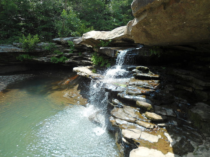 9. Kings River Falls: Located in Northwest Arkansas, Kings River is a popular destination for float trips. More than that, Kings River has a set of falls that are totally gorgeous, even at low flow. Check out this low flow pic: